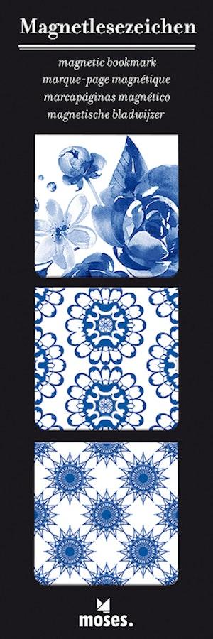 Magnetbokmärke, kvadrat, Porslinsblå