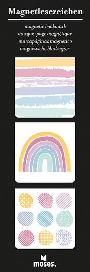 Magnetbokmärke, kvadrat, Regnbåge