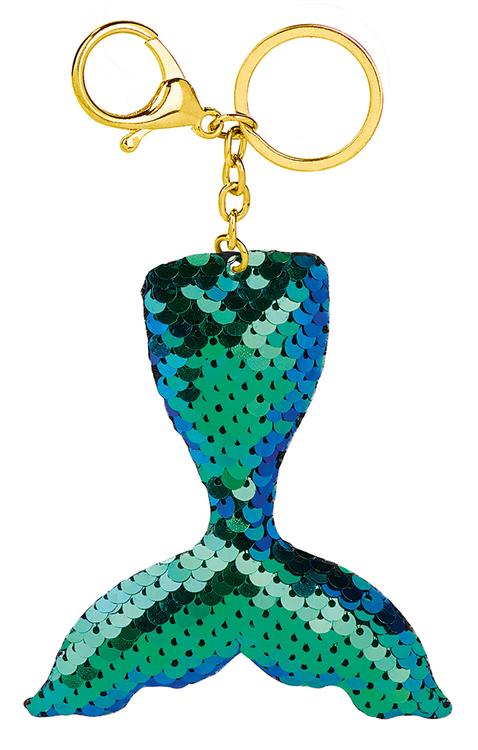 Nyckelring Glitterpaljett turkos