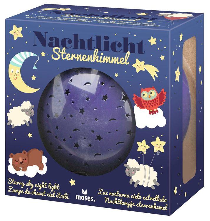 Nattlampa med stjärnhimmel