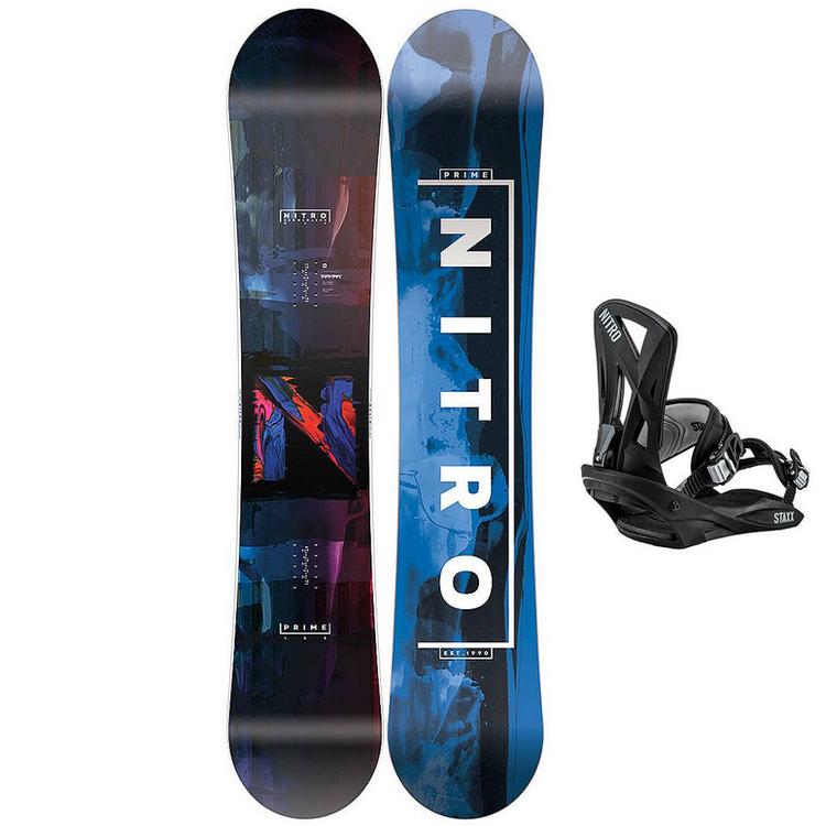 Nitro Snowboardpaket Prime Overlay Wide 158 + Staxx Pepper L