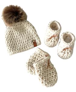 MERINO WOOL BABY SET, NATURAL WHITE