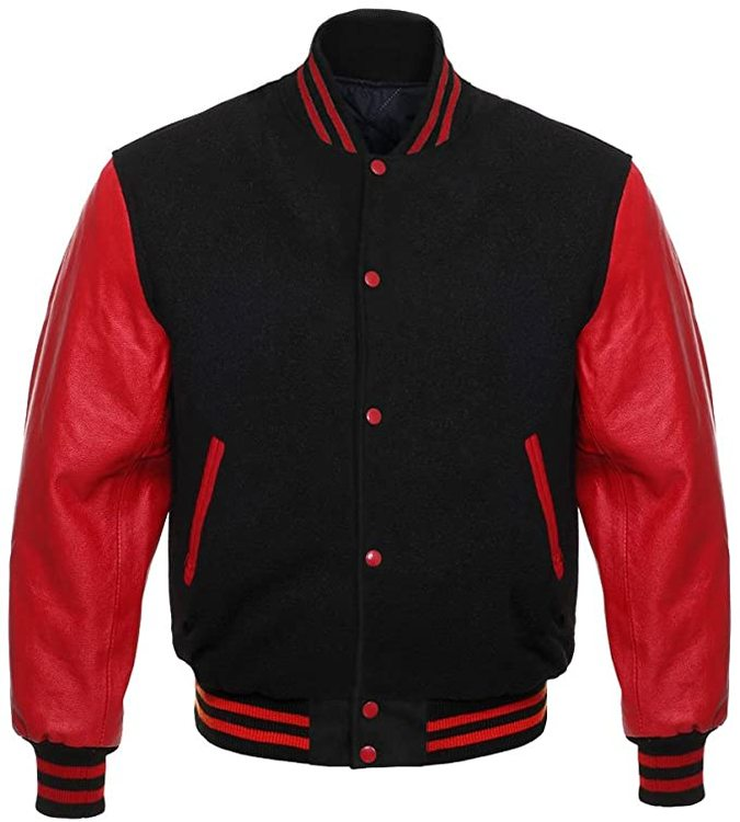 Baseballjacka Skinn, Red/Black