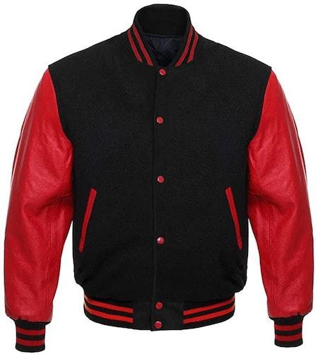 Baseballjacka Skinn, Röd/svart