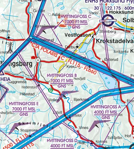 VFR Karta Norge Center Norr 1:500 000