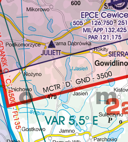 VFR Karta Polen Sydost 1:500 000