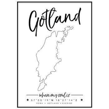 Poster: Gotland med personifierad ort