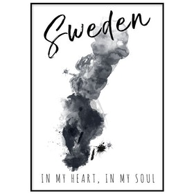 Poster: Sweden akvarell med text