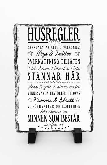 Stentavla, Husregler, 20x30cm