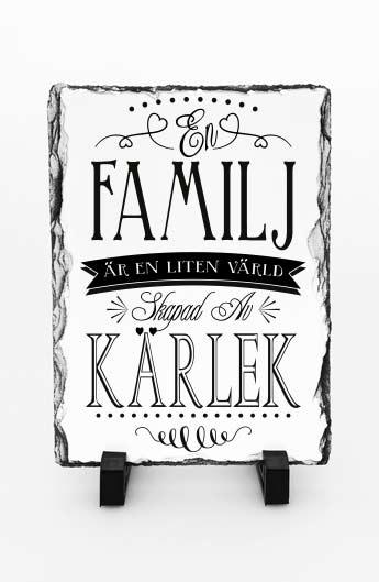Stentavla, En familj är en liten värld, 15x20cm