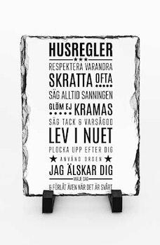 Stentavla, Husregler, 15x20cm