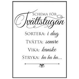 Poster: Schema för tvättstugan