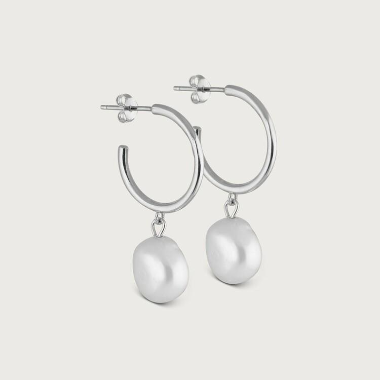 Pearly hoops earrings silver