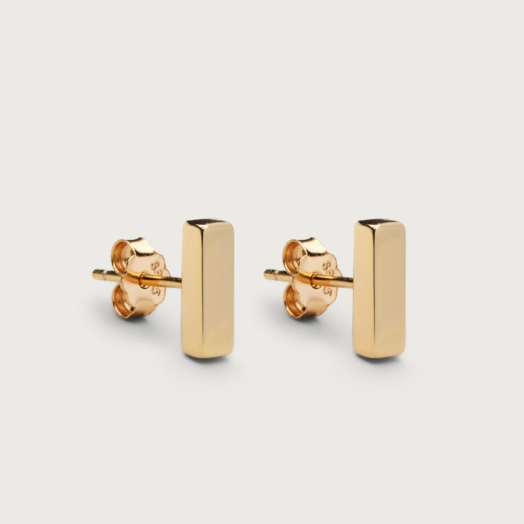 Line earrings gold plated