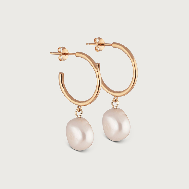 Pearly hoops earrings gold plated