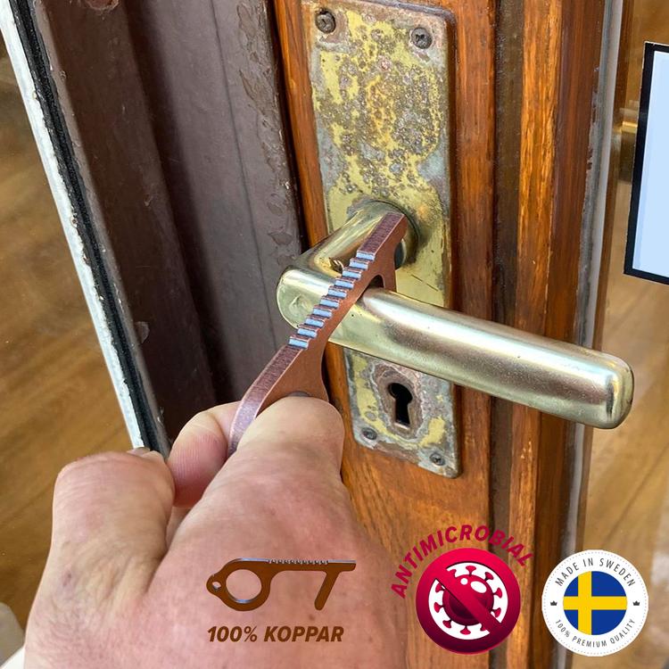 Kopparhanden Hygienisk nyckelring Dörröppnare & touchpenna