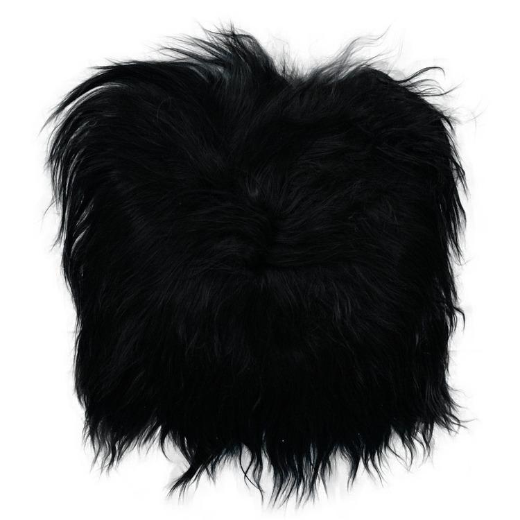 Stolsdyna fårskinn svart