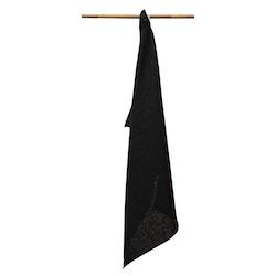 Linnehandduk svart 2-pack