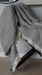 Filt med fransar grå 125x160