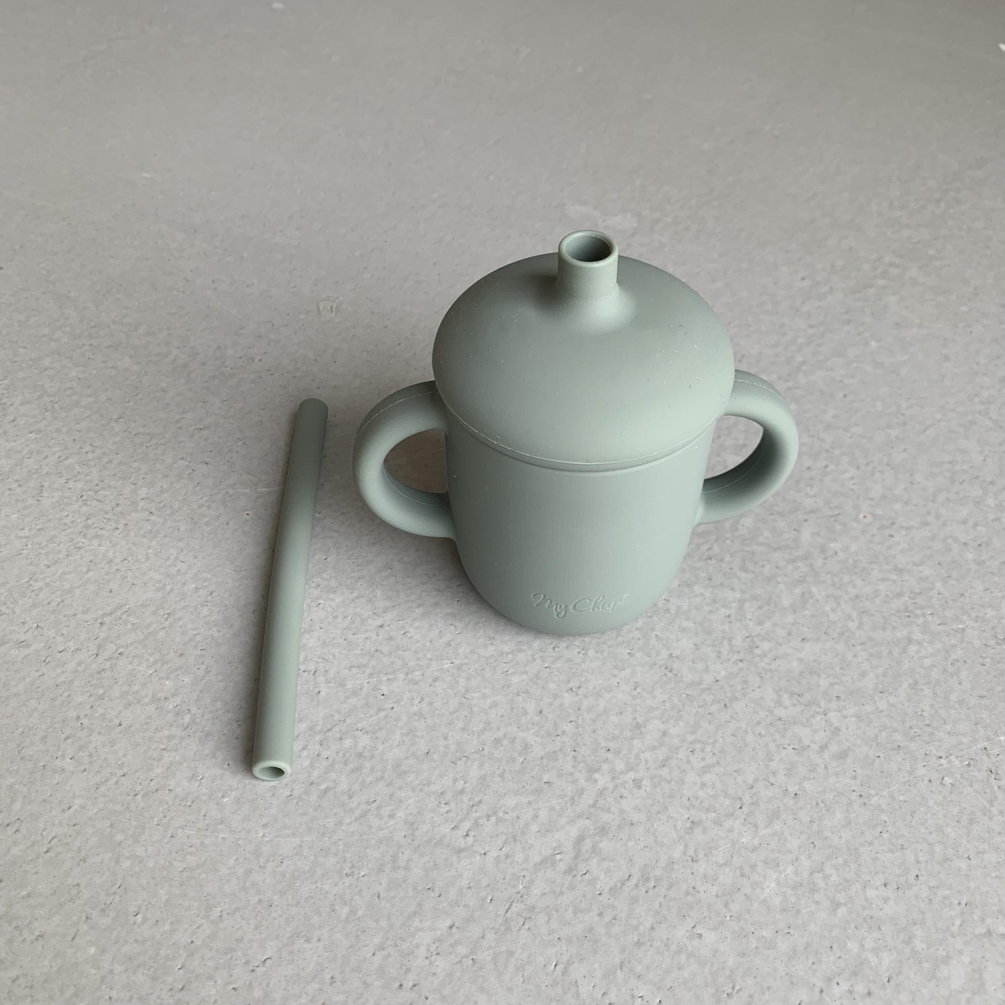 Sippy cup + sugrör grön