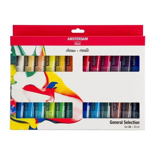 24 tuber akrylfärg