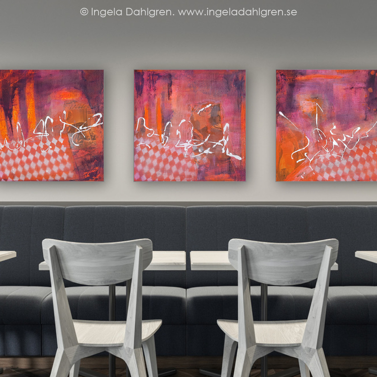 Originalmålningar - A little less conversation I-III, av Ingela Dahlgren