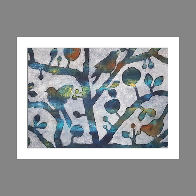 Bullfinch in winter garb - Gicclé, fine art