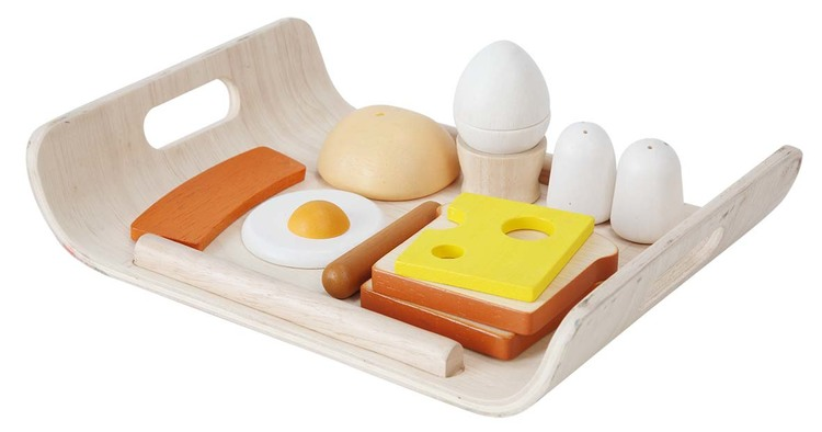 Leksaksmat frukostbricka i trä från Plantoys