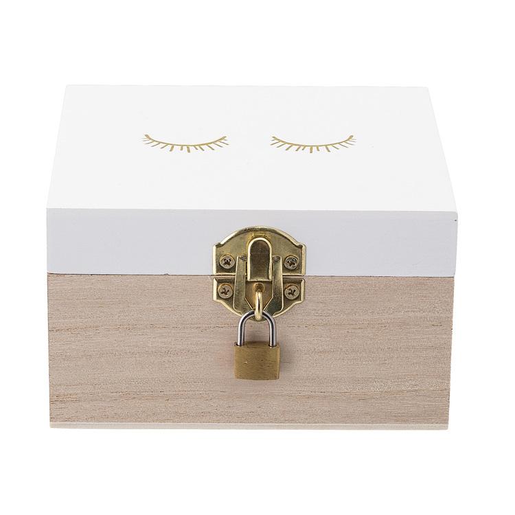 Fin ask i trä med lås från Bloomingville Mini
