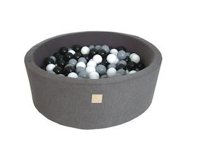 Meow Baby - Bollhav Mörkgrå med grå, vita och svarta bollar