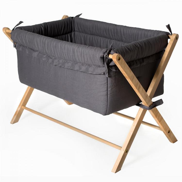 Troll  Vagga  Minisäng X-Crib Mörk grå babysäng klädd i linnetyg babysäng resesäng