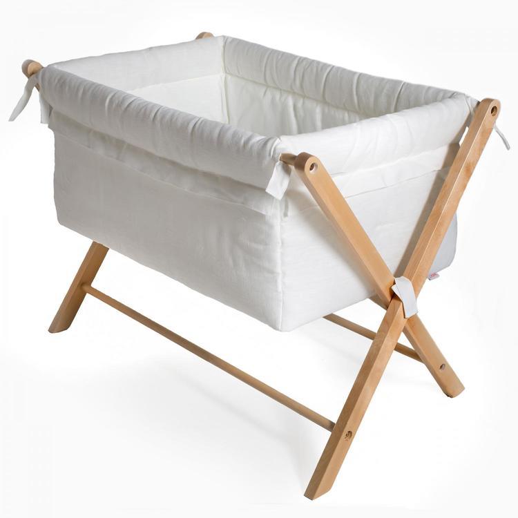 Troll  Vagga  Minisäng X-Crib vit babysäng klädd i linnetyg babysäng resesäng