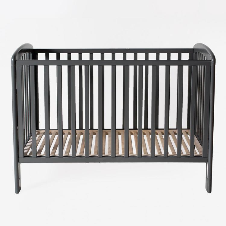 Troll Spjälsäng Lux Mörkgrå grå spjälsäng med dropside barnsäng babysäng