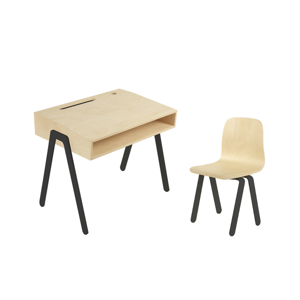 In2Wood - Barnskrivbord och stol svart