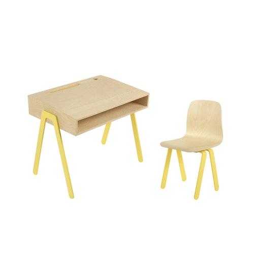 In2Wood - Barnskrivbord och stol gul