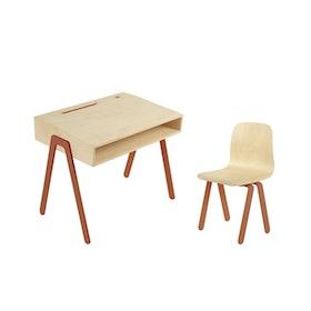 In2Wood - Barnskrivbord och stol rödorange