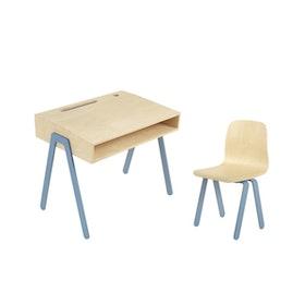In2Wood - Barnskrivbord och stol blå