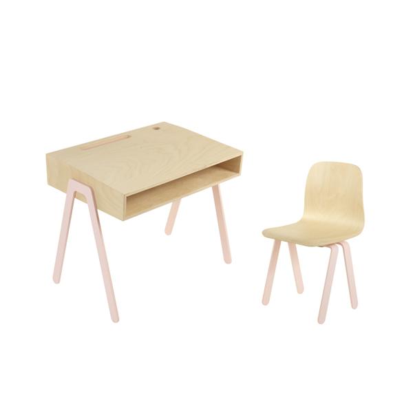 In2Wood - Barnskrivbord och stol rosa