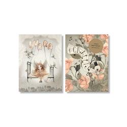 Mrs Mighetto -  Gratulationskort Miss Olivia samt Roser A6 2-Pack