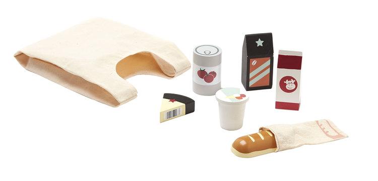 Kids Concept - Matvaror i trä med tygkasse