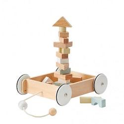 Kids Concept - Byggklossar med vagn
