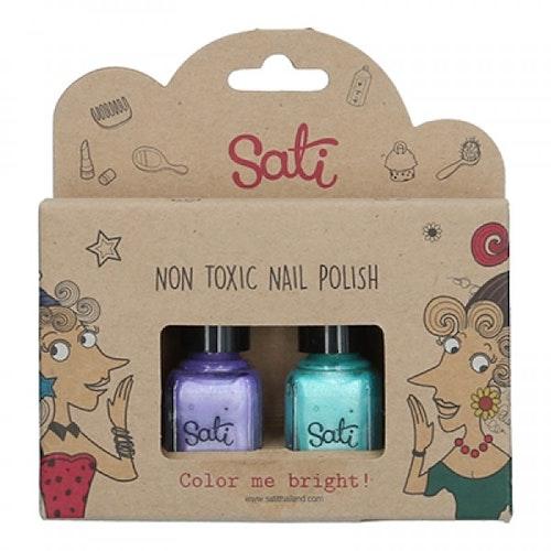 Sati - Nagellack Giftfri Purple & Green 2-pack