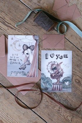 Mrs Mighetto - 2-Pack A6 Kort Moon Love