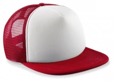 Truckerkeps Junior, röd och vit.