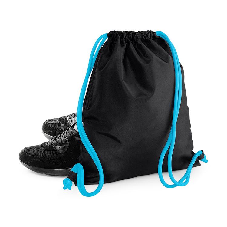 Gympapåse med sidoficka, svart med snören i aqua