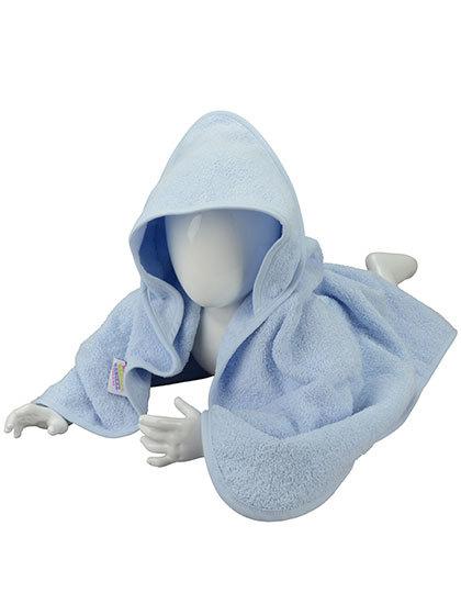 Babyhandduk med luva, ljusblå
