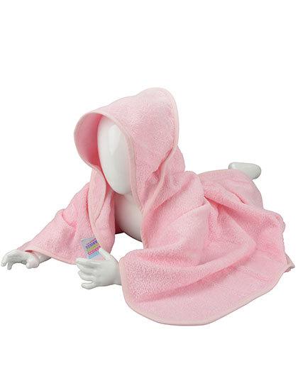 Babyhandduk med luva, ljusrosa