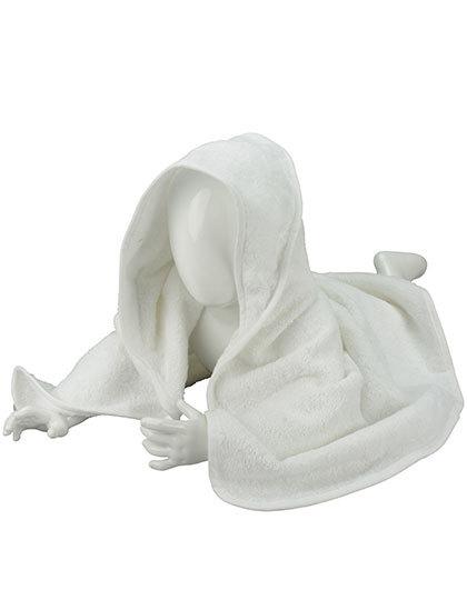 Babyhandduk med luva, vit