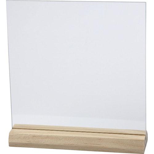 Glasplatta med träfot
