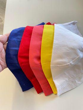 Blå, Röd, Laxrosa, Gul och Vit solhatt